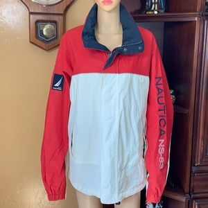 Vintage Nautica Mens Large NS-83 Jacket Red White